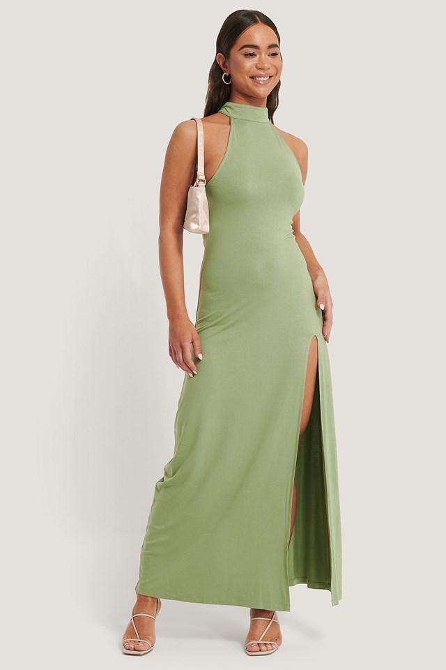 High Neck Maxi Dress Green