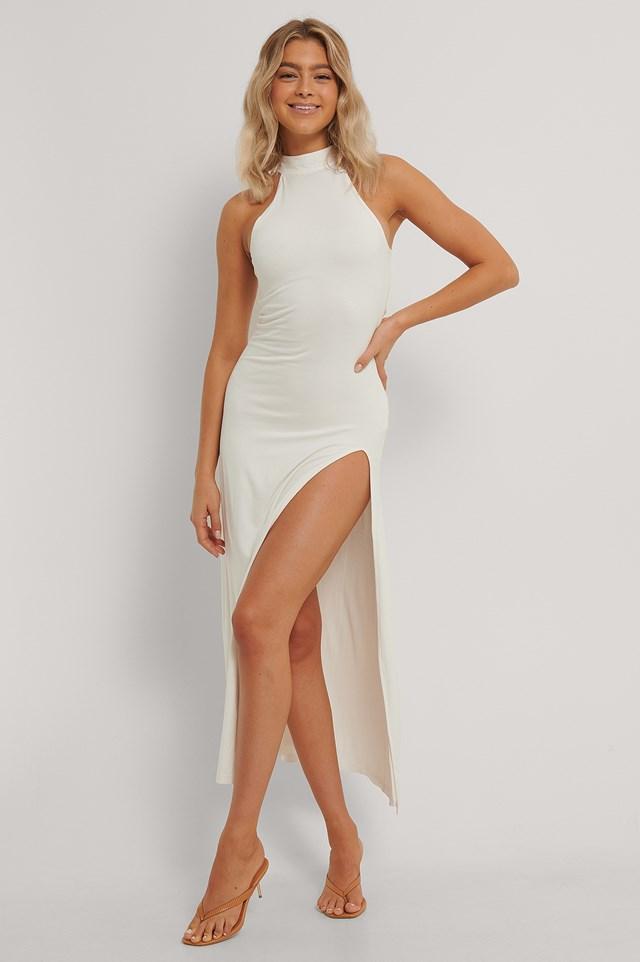 High Neck Maxi Dress Offwhite