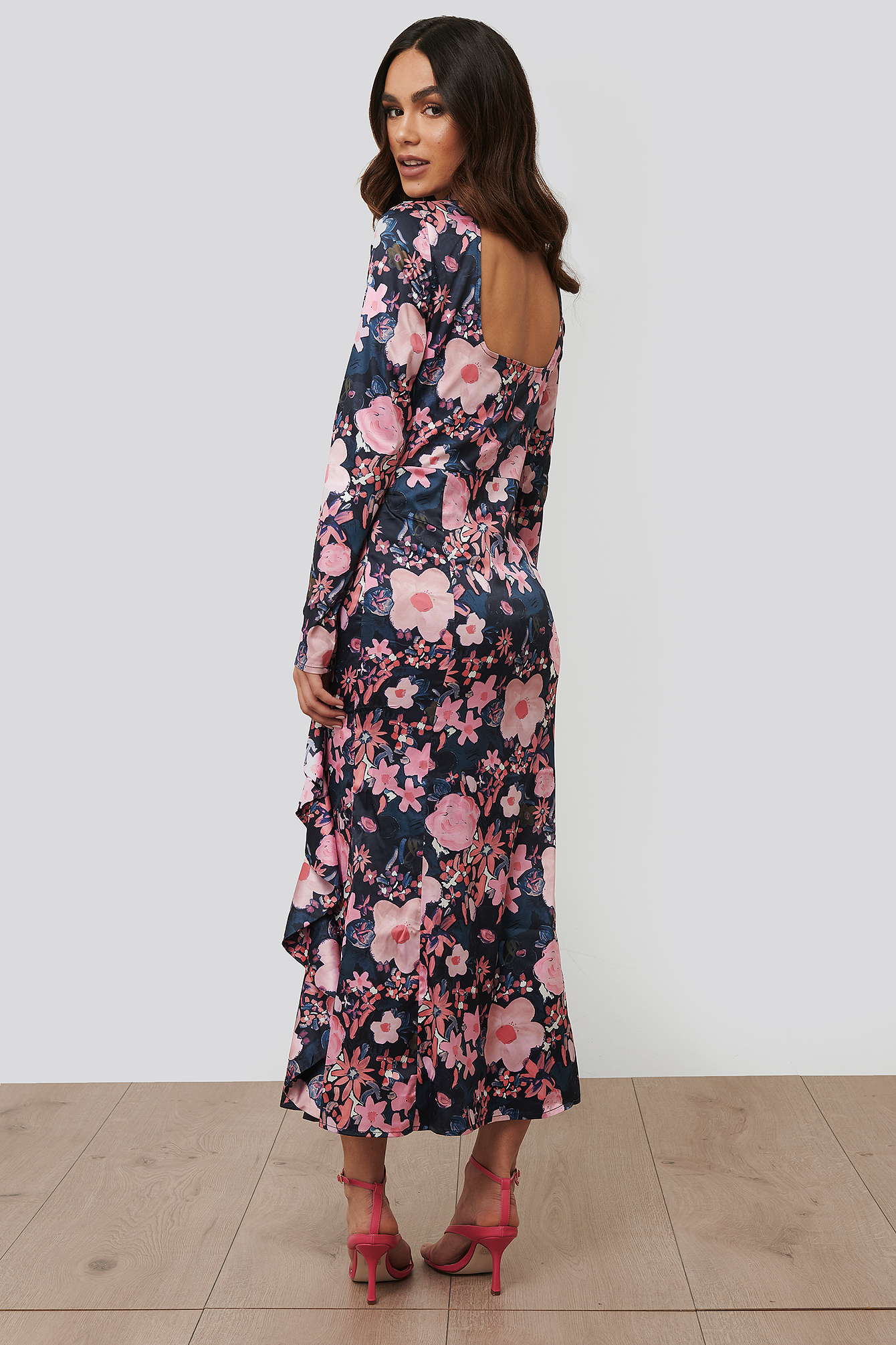 Dark Poppy Flower High Neck Midi Dress