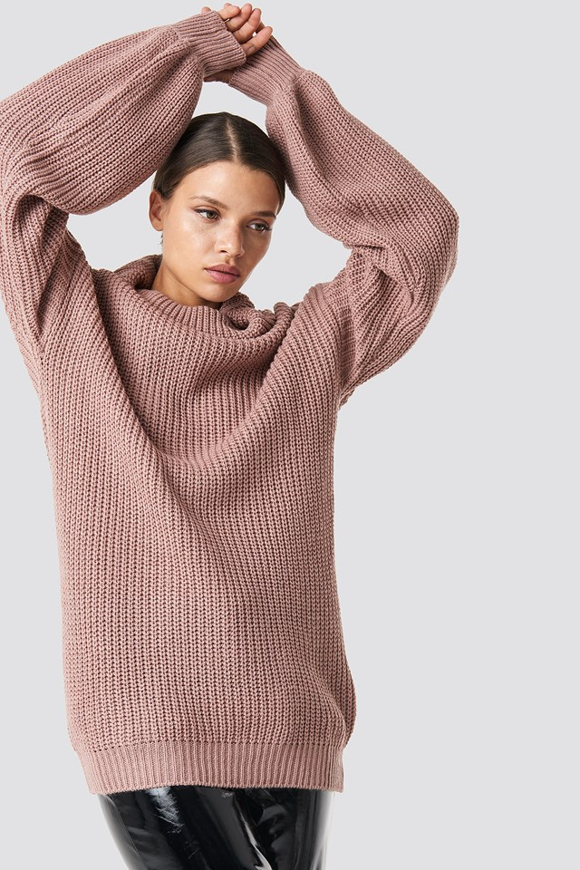 High Neck Oversized Knitted Sweater Dusty Pink