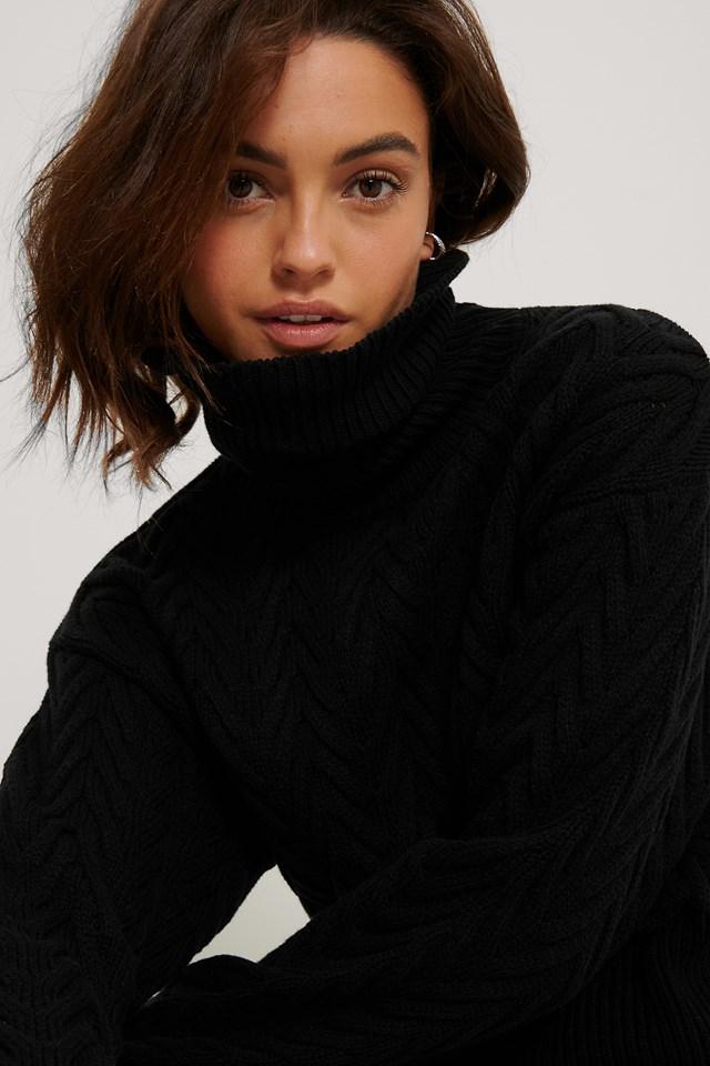 High Neck Pattern Knit Sweater Black