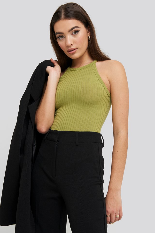 High Neck Ribbed Body Olive Green