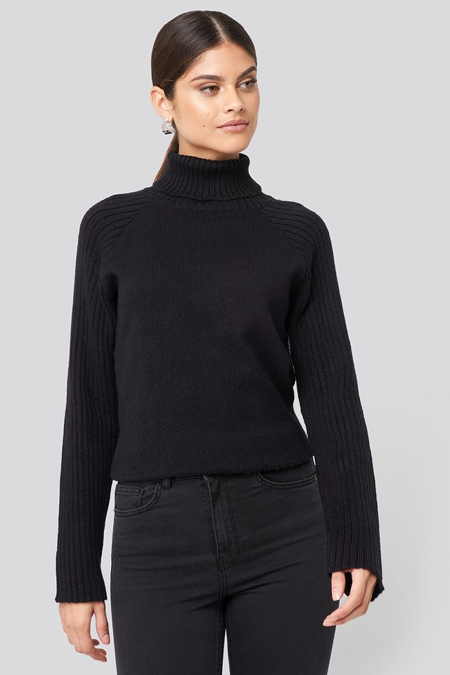 Deep Black High Neck Ribbed Sleeves Sweater