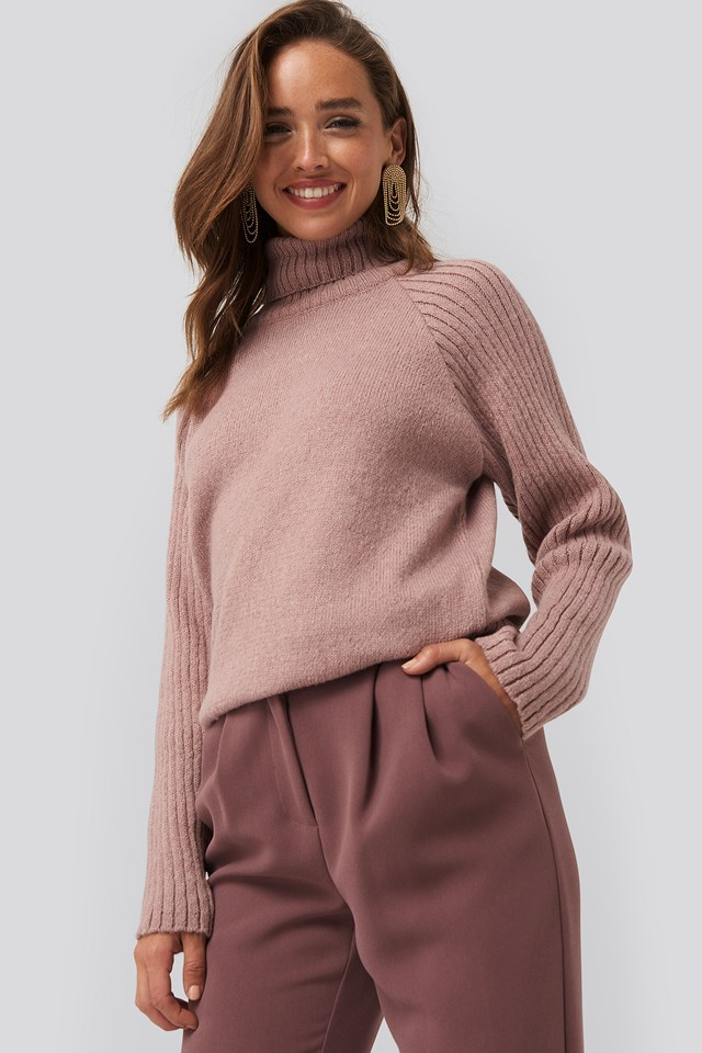 High Neck Ribbed Sleeves Sweater Dusty Pink