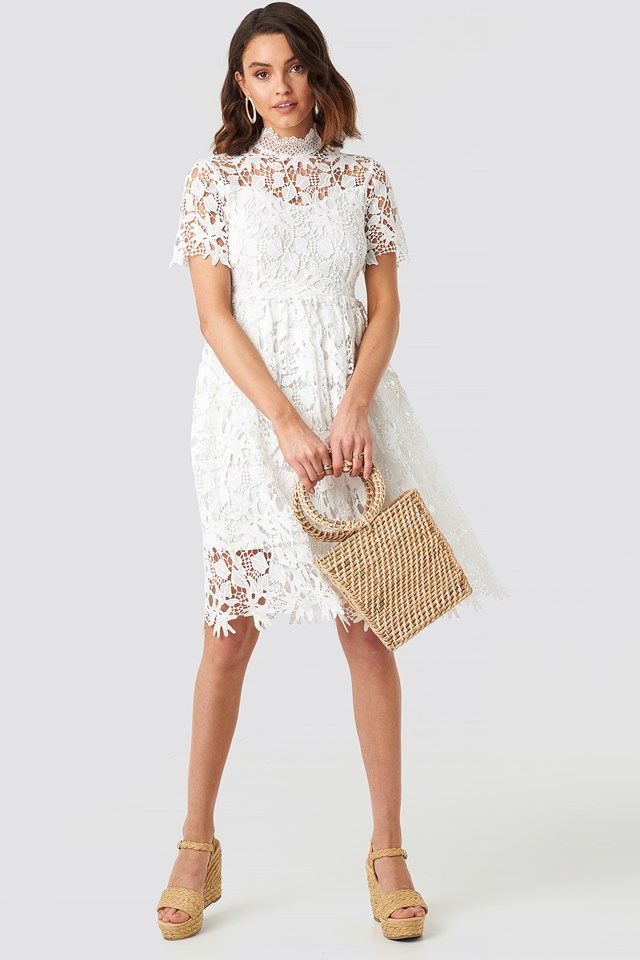 High Neck Short Sleeve Lace Dress White