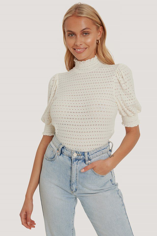 Recycled High Neck Smock Top White