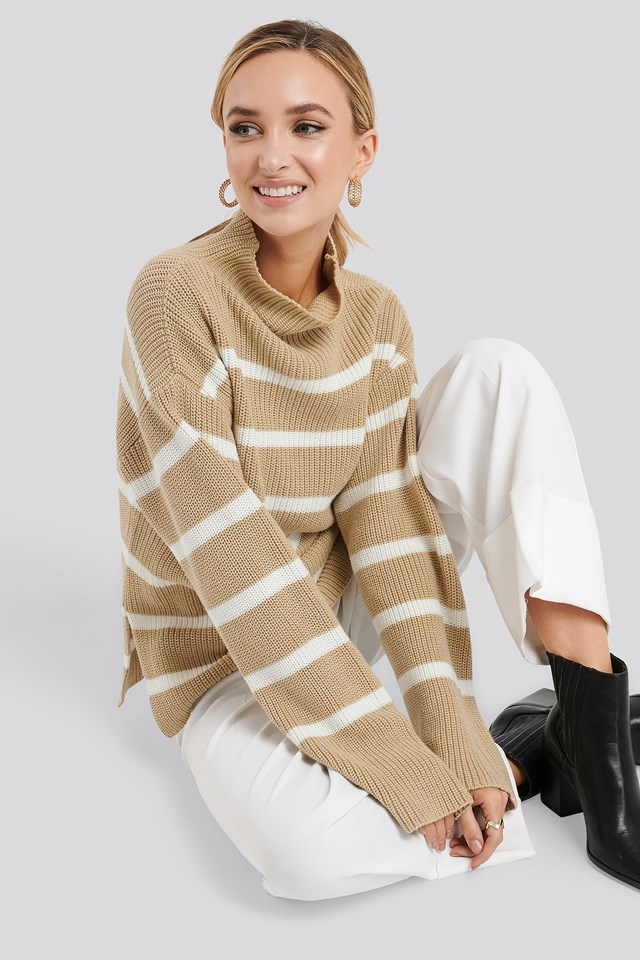 Beige/White Stripe High Neck Striped Knitted Sweater