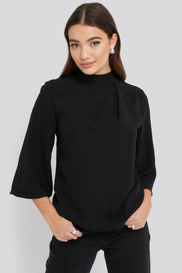 Black High Neck Wide Sleeve Blouse