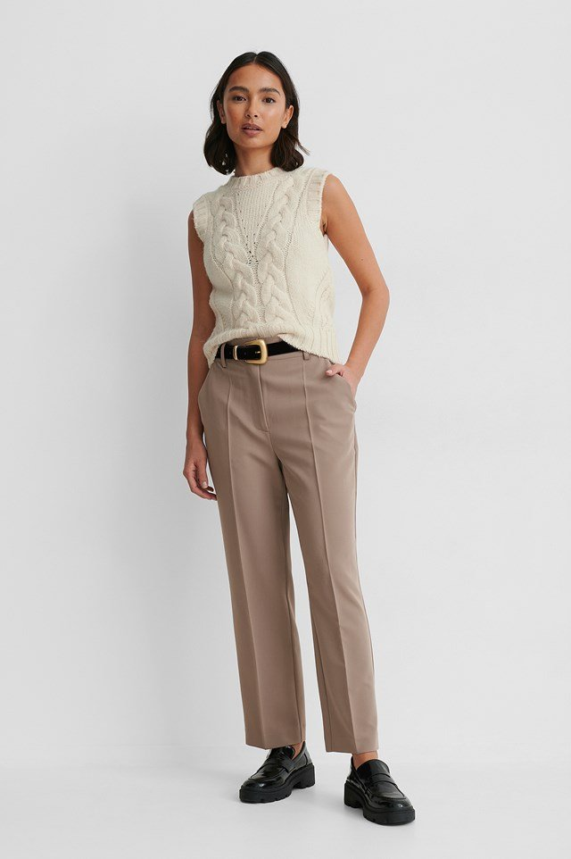 High Rise Cropped Suit Pants Taupe