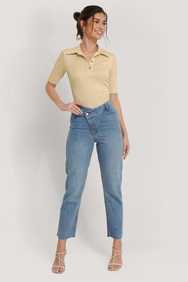 High Waist Asymmetric Closure Straight Jeans Light Blue