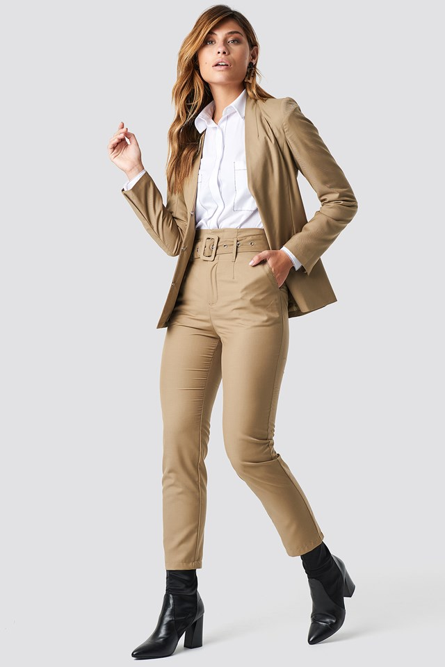 High Waist Belted Pants Beige