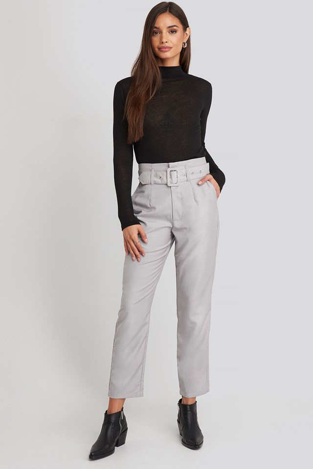 High Waist Belted Pants Light Grey
