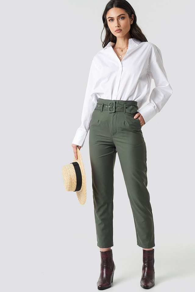 High Waist Belted Pants Dark Green