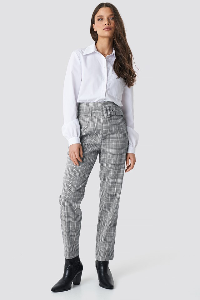 High Waist Belted Pants Checkered