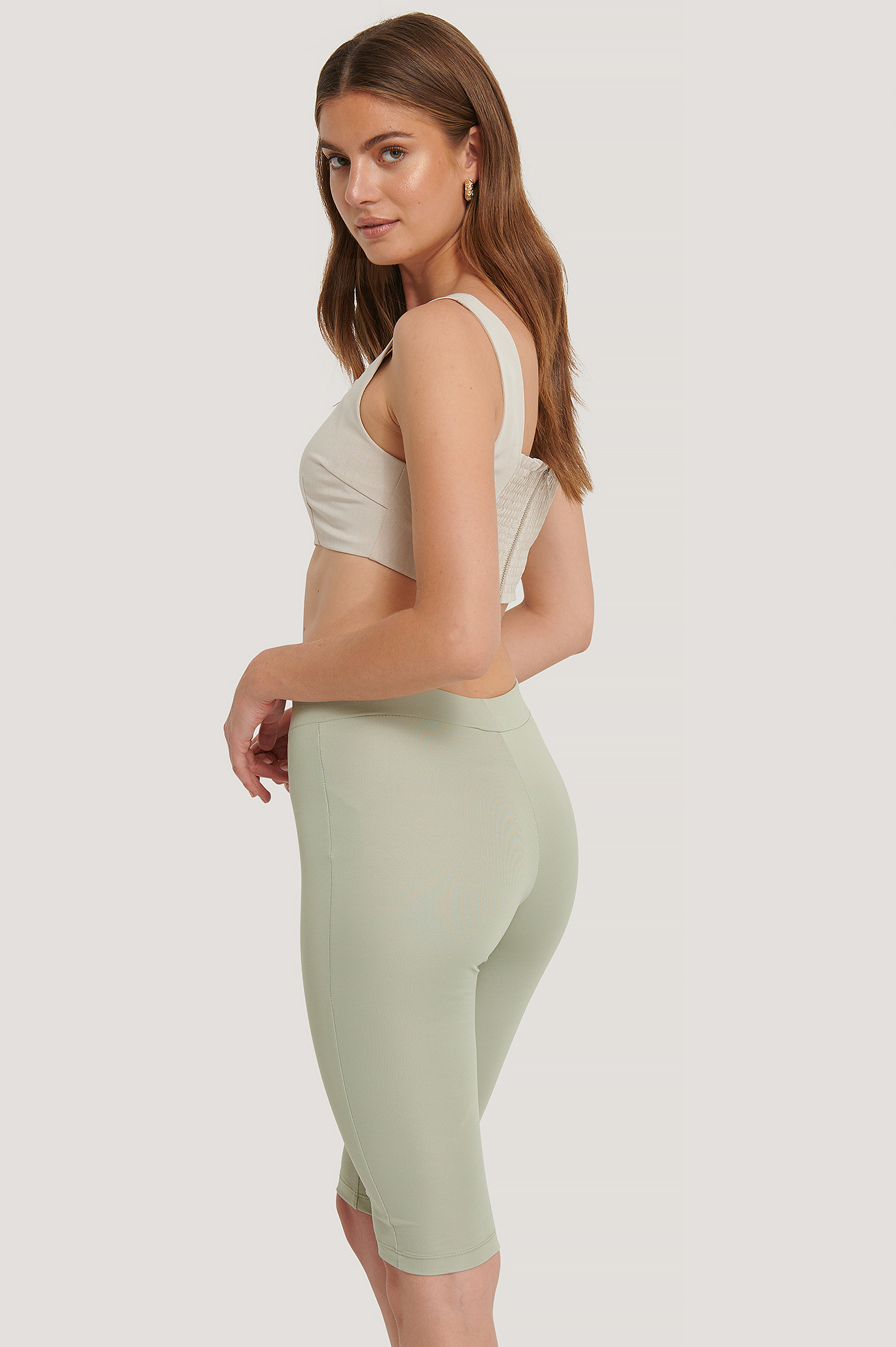 Khaki High Waist Capri Pants