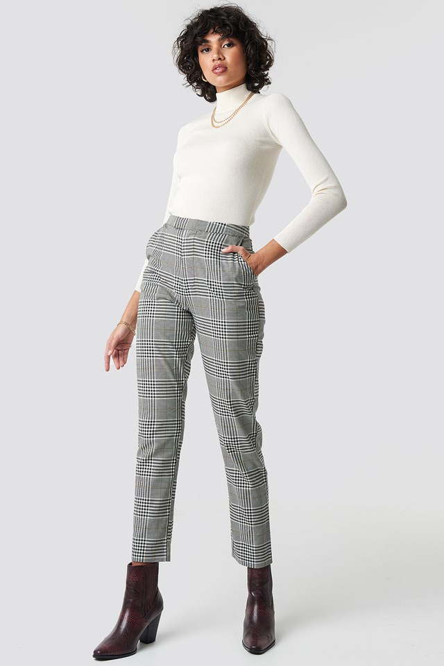 High Waist Checkered Suit Pant Checkered