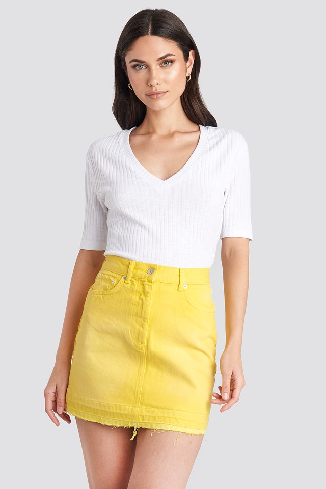 High Waist Denim Mini Skirt Yellow
