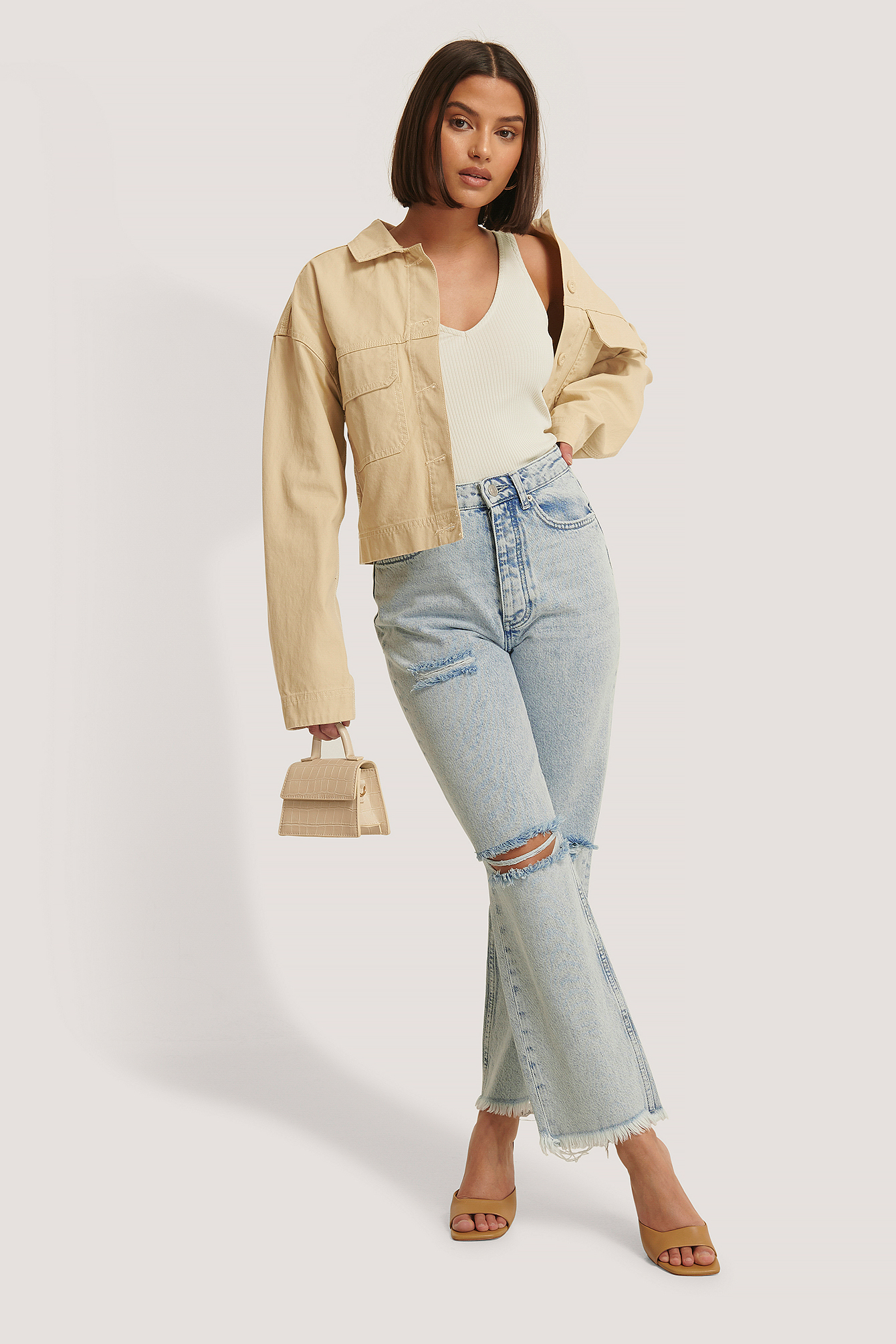 Light Blue High Waist Destroyed Jeans
