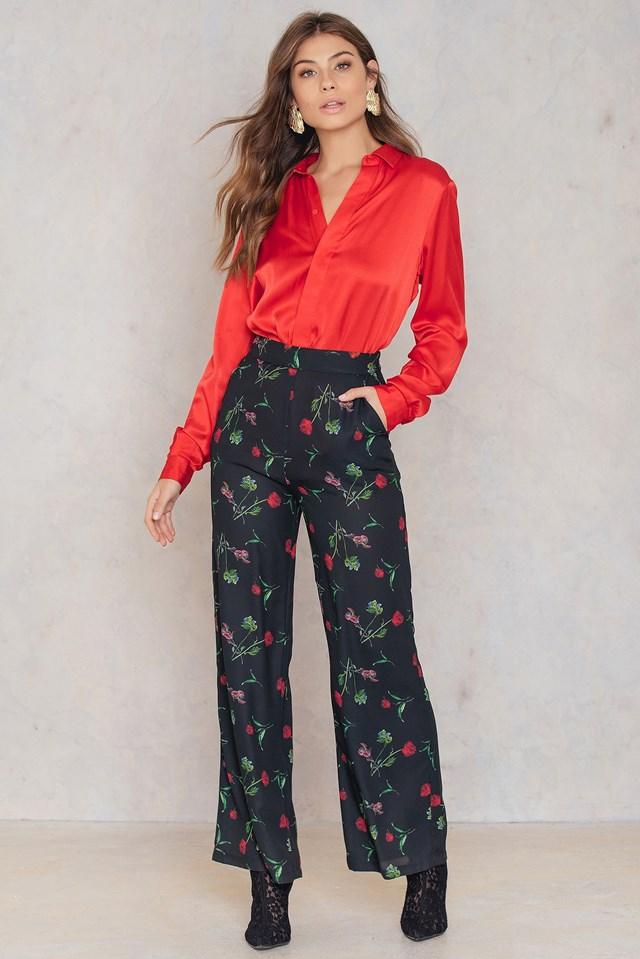 High Waist Flared Pants Black/Flower Print