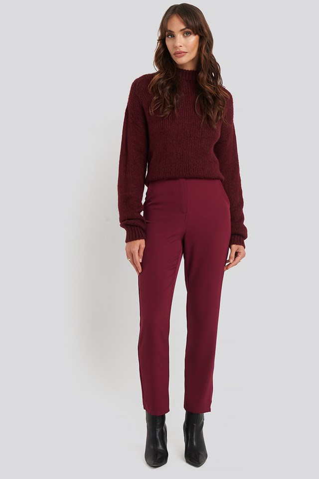 High Waist Suit Trousers Burgundy