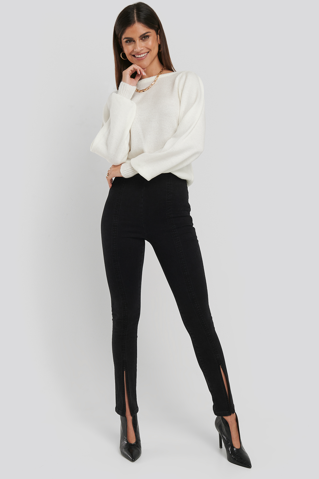 Black High Waist Front Slit Skinny Jeans