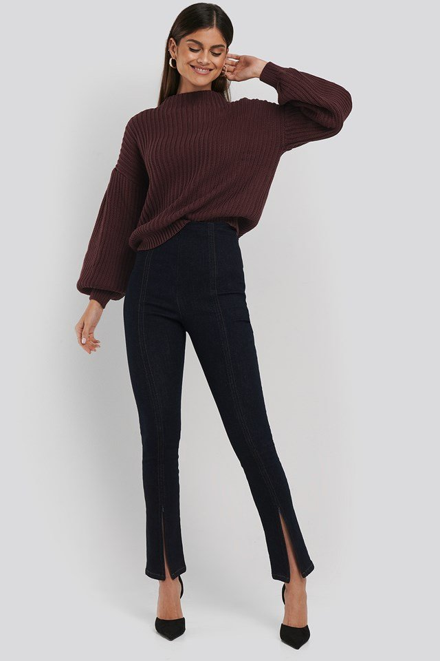 High Waist Front Slit Skinny Jeans Indigo