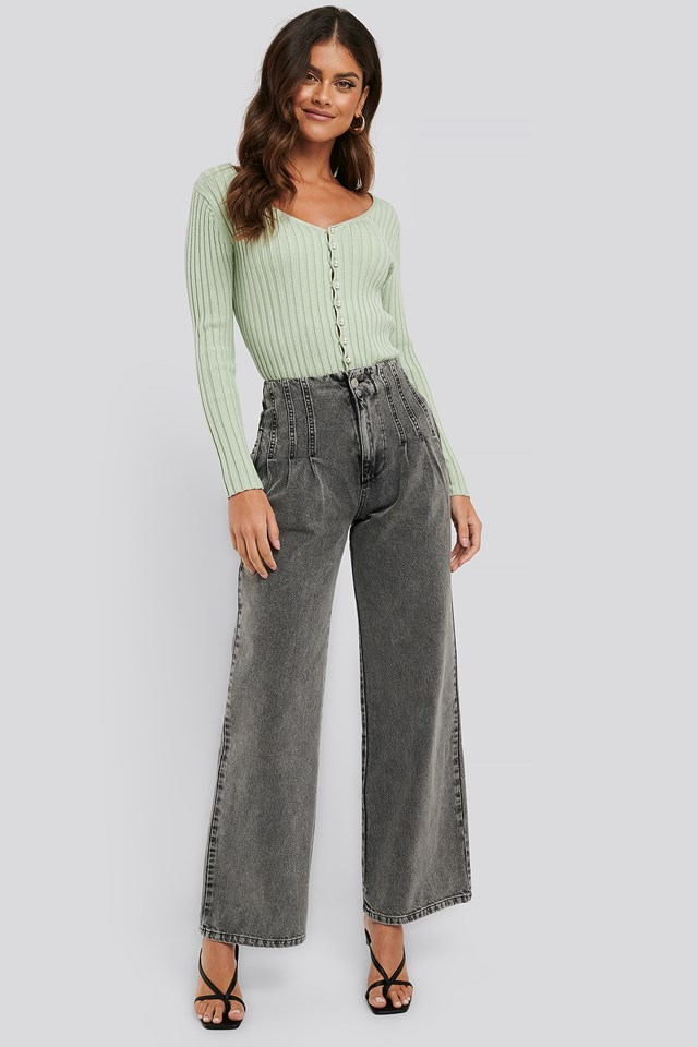 Washed Grey High Waist Loose Fit Jeans