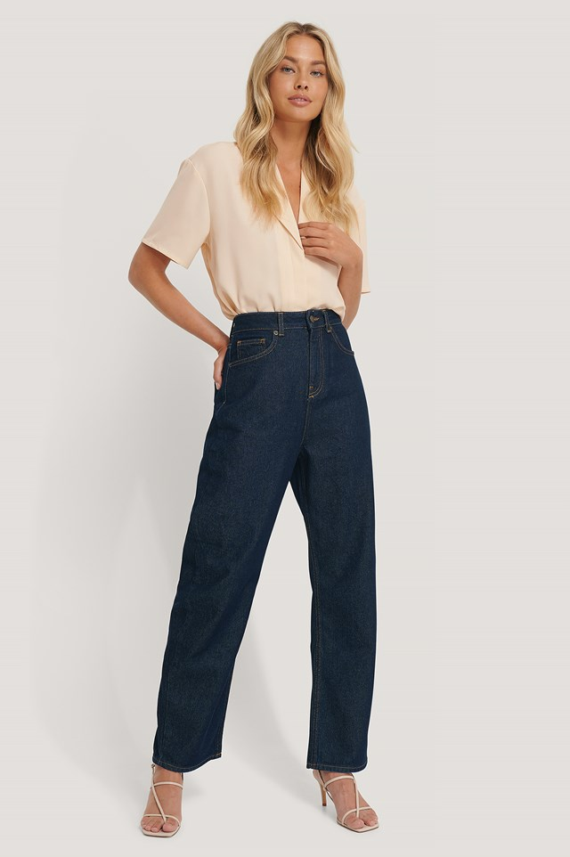 High Waist Oversized Jeans Dark Blue