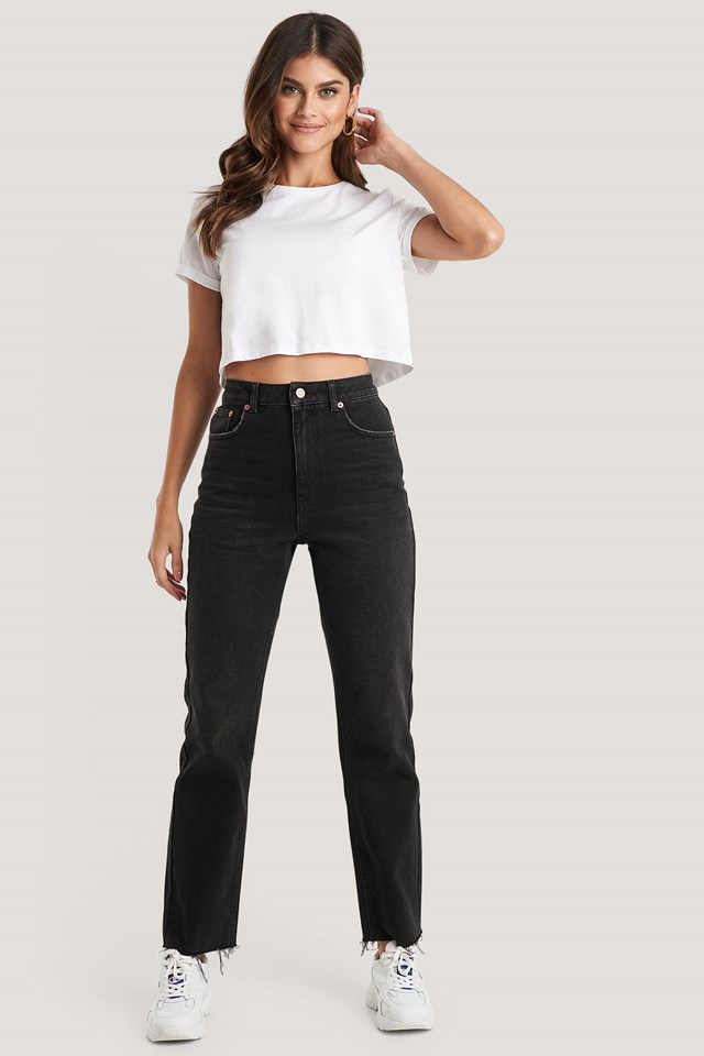 Washed Black High Waist Raw Hem Straight Jeans