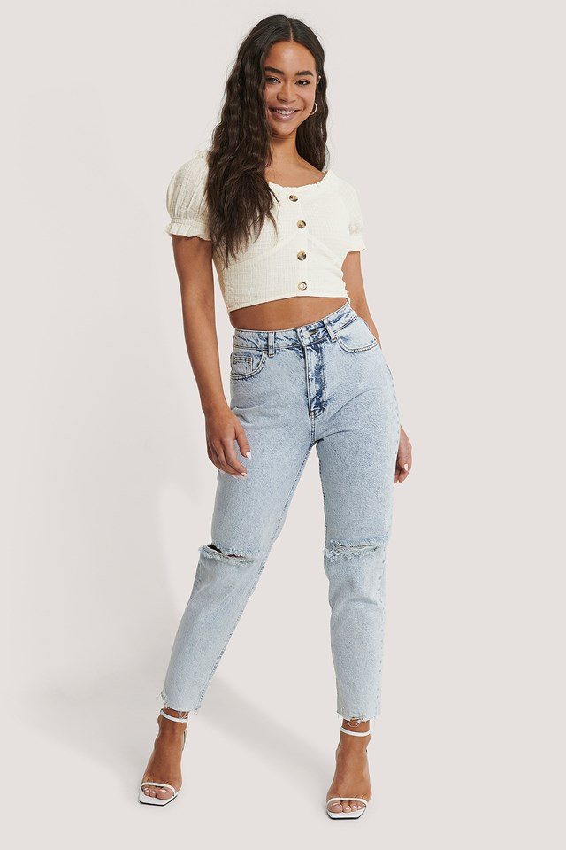 Light Blue High Waist Ripped Knee Jeans