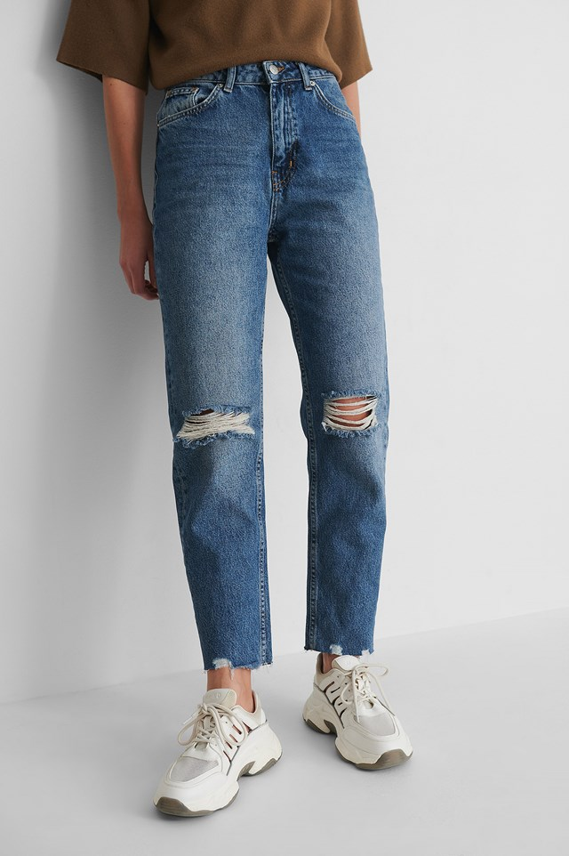 Mid Blue Organic High Waist Ripped Knee Slim Jeans