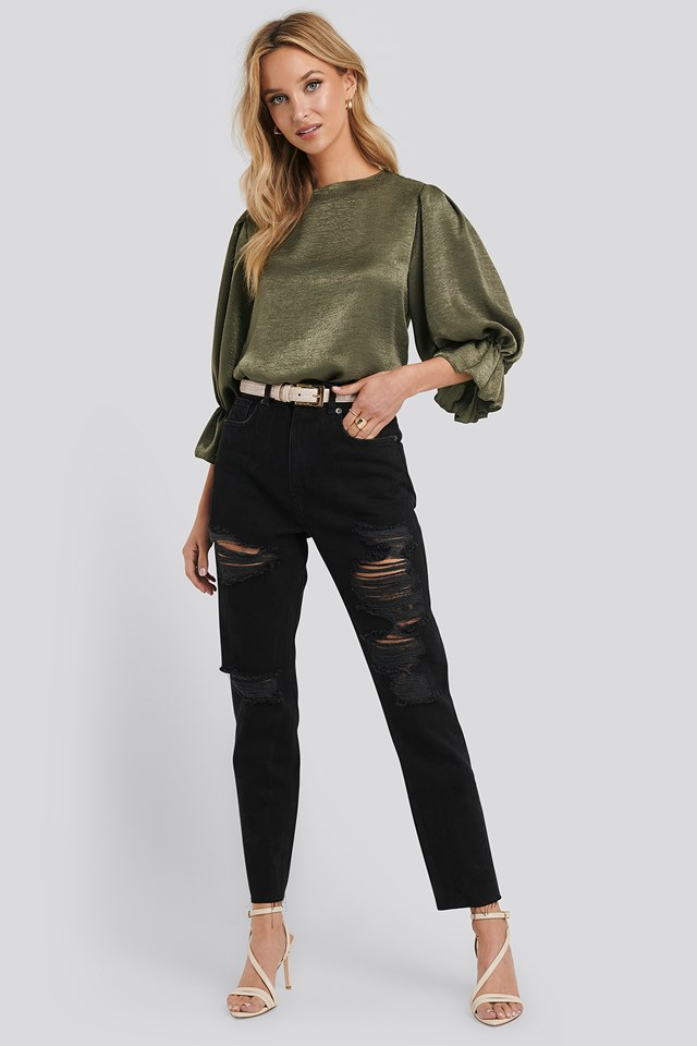 High Waist Ripped Mom Jeans Black