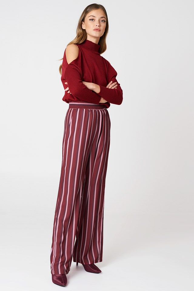 High Waist Wide Pants Burgundy Triple Stripes