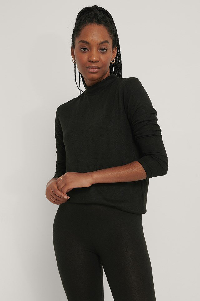 Black Highneck Soft Lounge Sweater