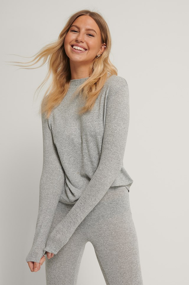 Grey Melange Highneck Soft Lounge Sweater