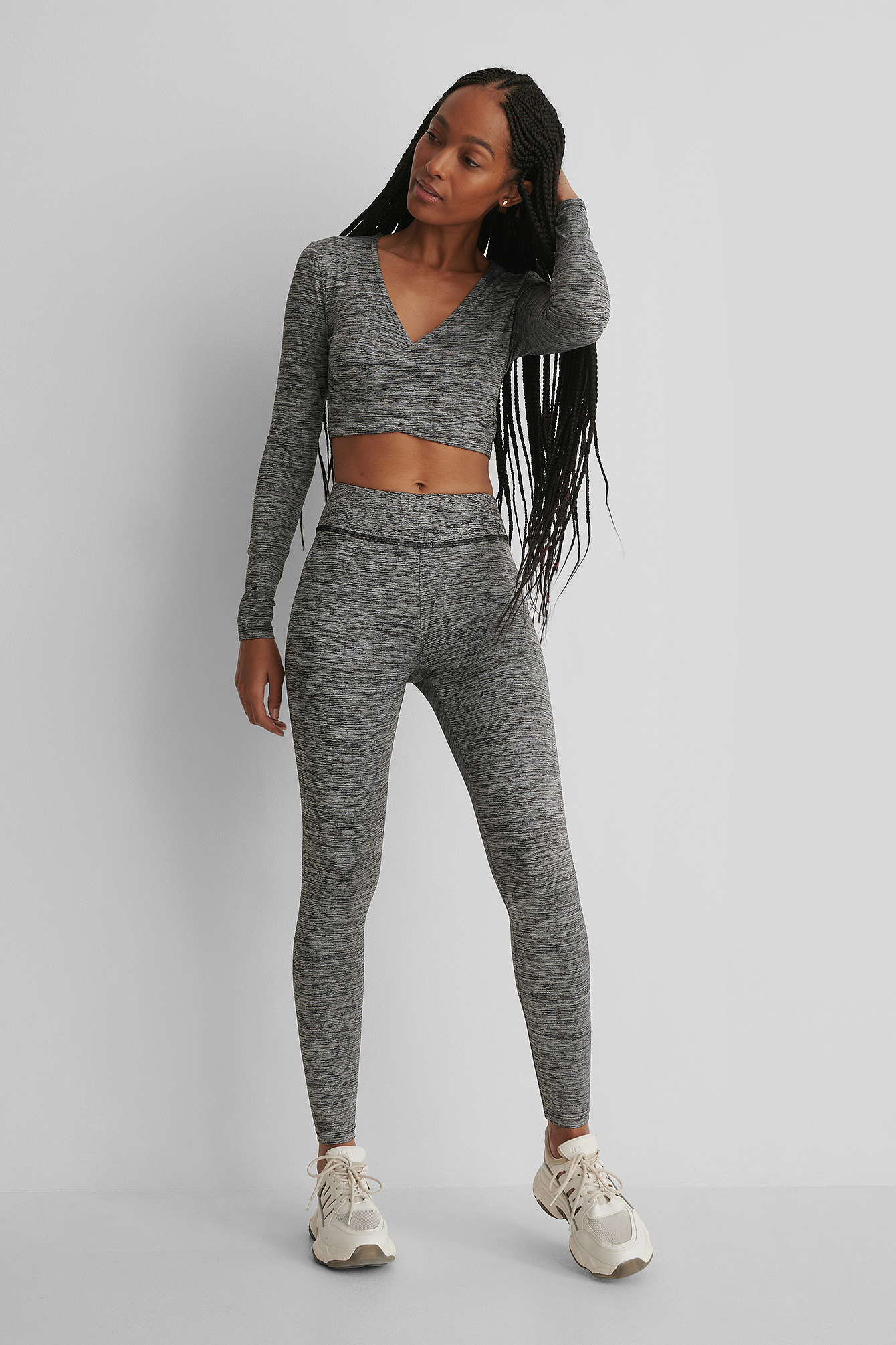 Grey Melange Highwaist Sporty Tights