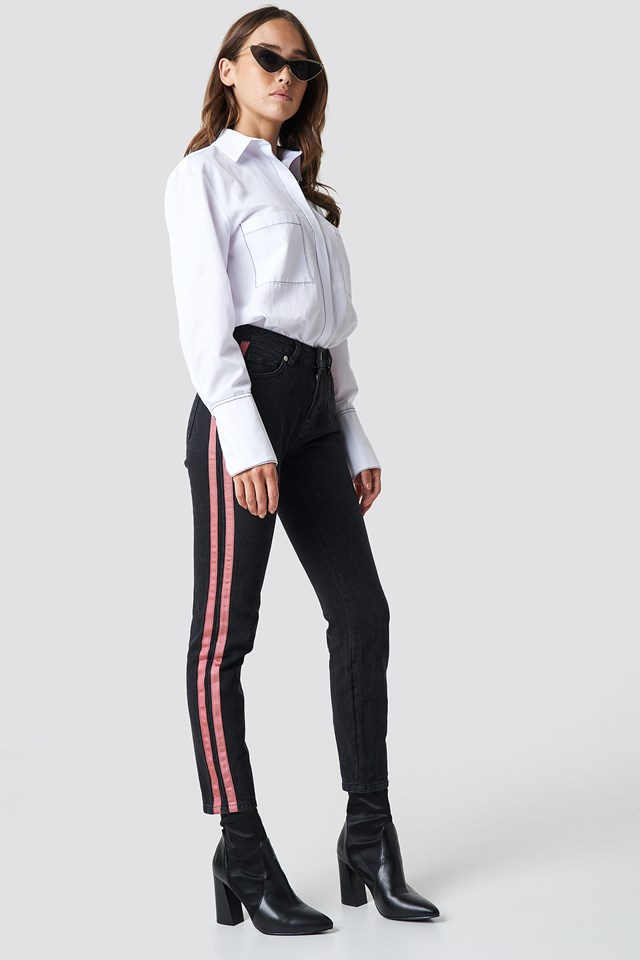 Highwaist Double Stripe Jeans Black
