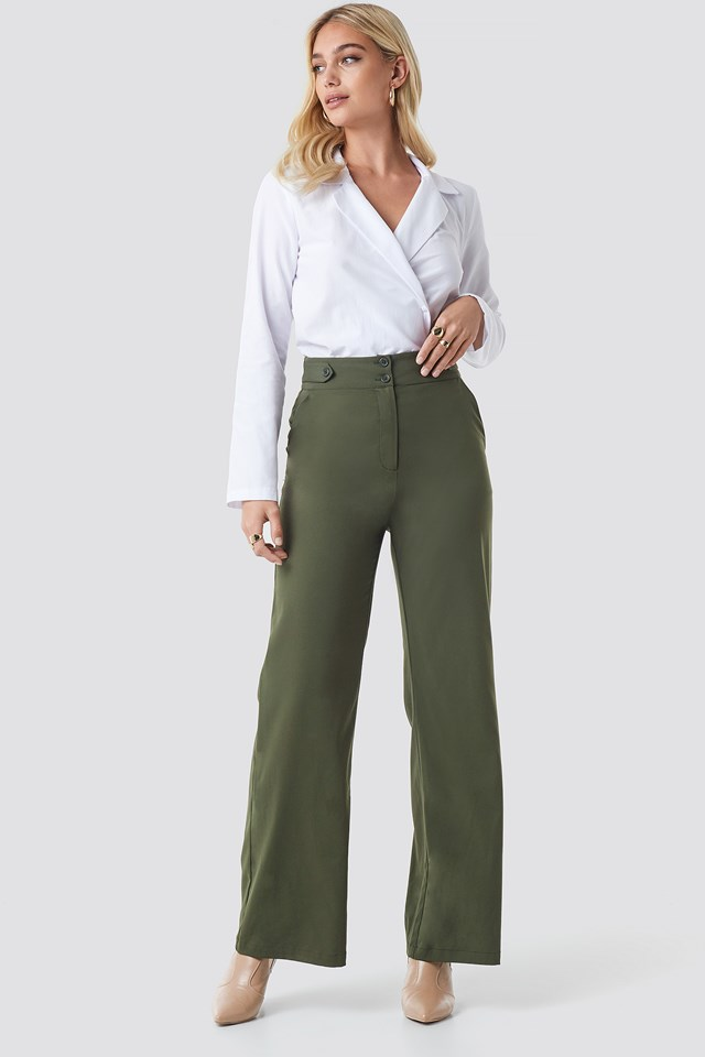 Highwaisted Wide Leg Pants Green