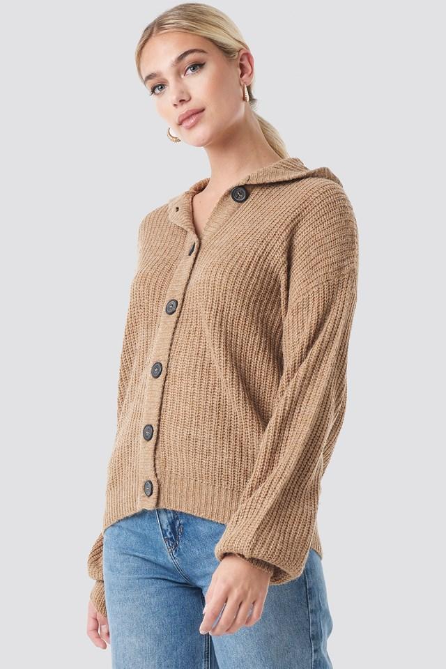 Dzianinowy Sweter Z Guzikami Beige