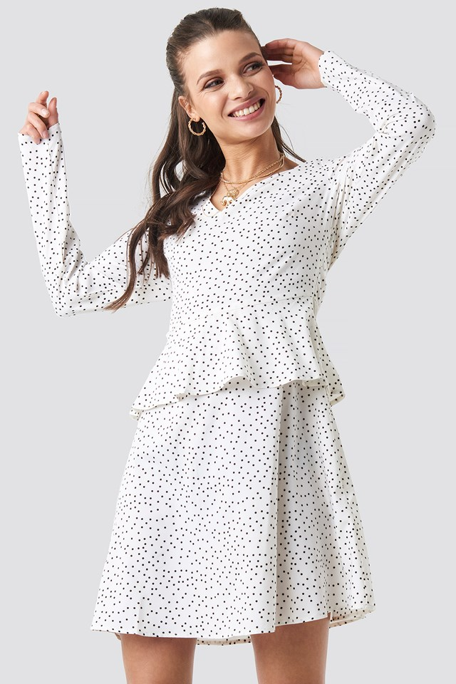 White/Black Dot Irregular Dot Printed Flounce Dress