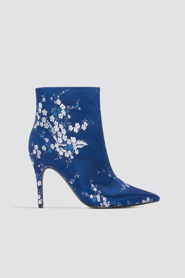 Jacquard Flower Satin Boots Blue Flower Print