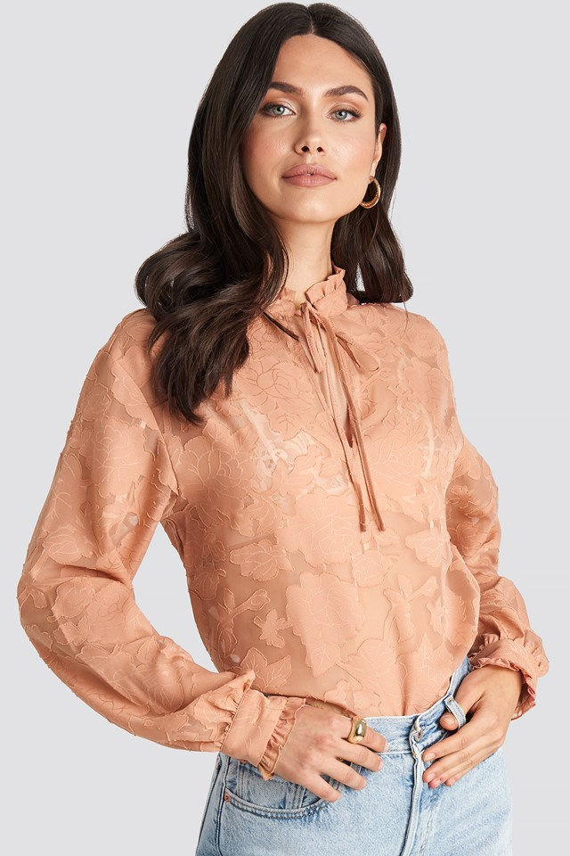 Dark Dusty Pink Jacquard Flower Frill Neck Blouse