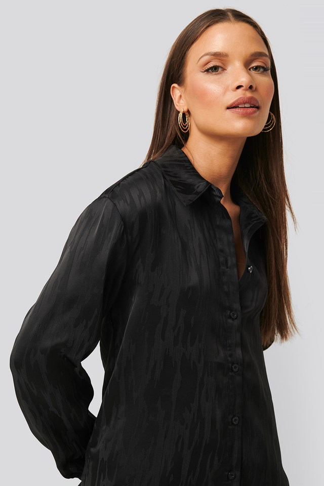 Jacquard Blouse Black