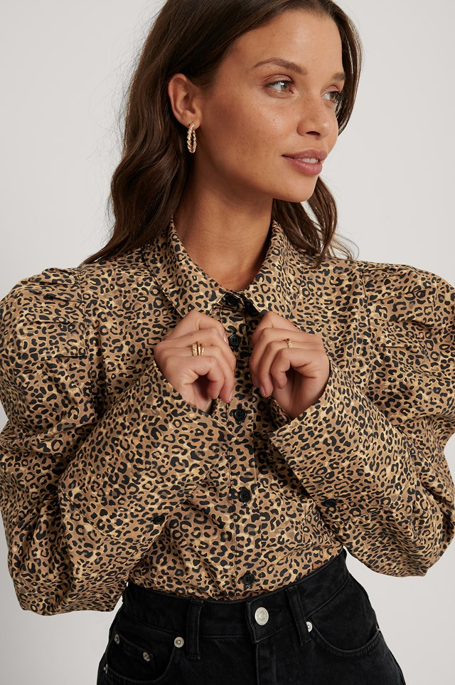 Pleat Shoulder Shirt Leopard