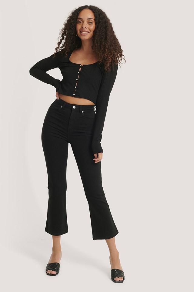 Kick Flare Skinny Jeans Black