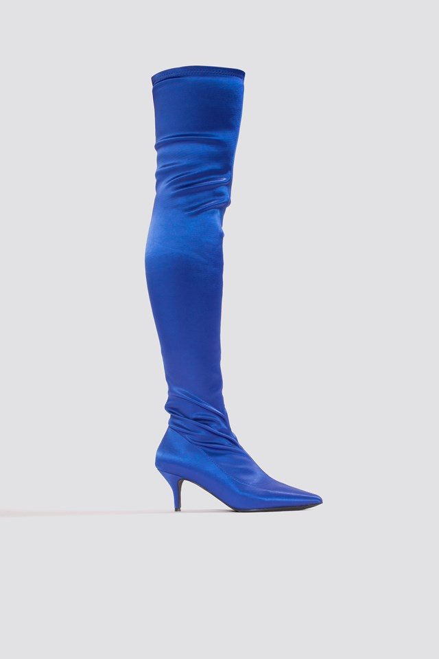 Knee High Satin Sock Boot Cobalt