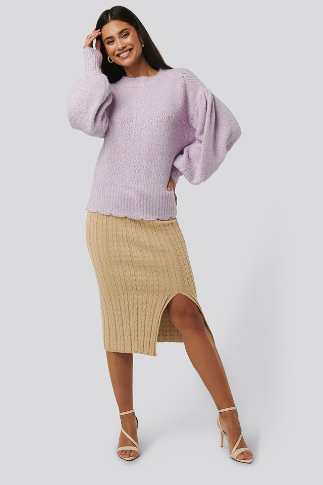 Light Beige Knitted Pencil Skirt