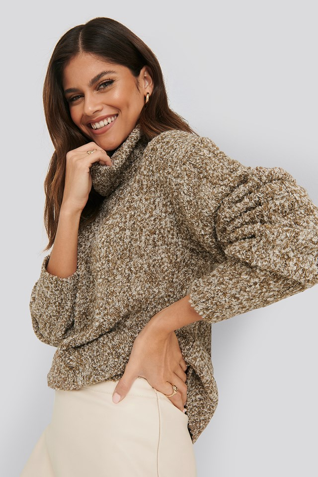 Beige Melange Knitted Sweater