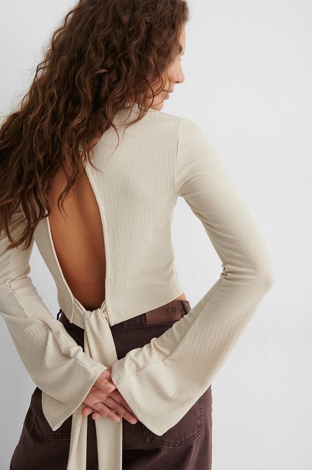 Knot Detail Open Back Top Beige