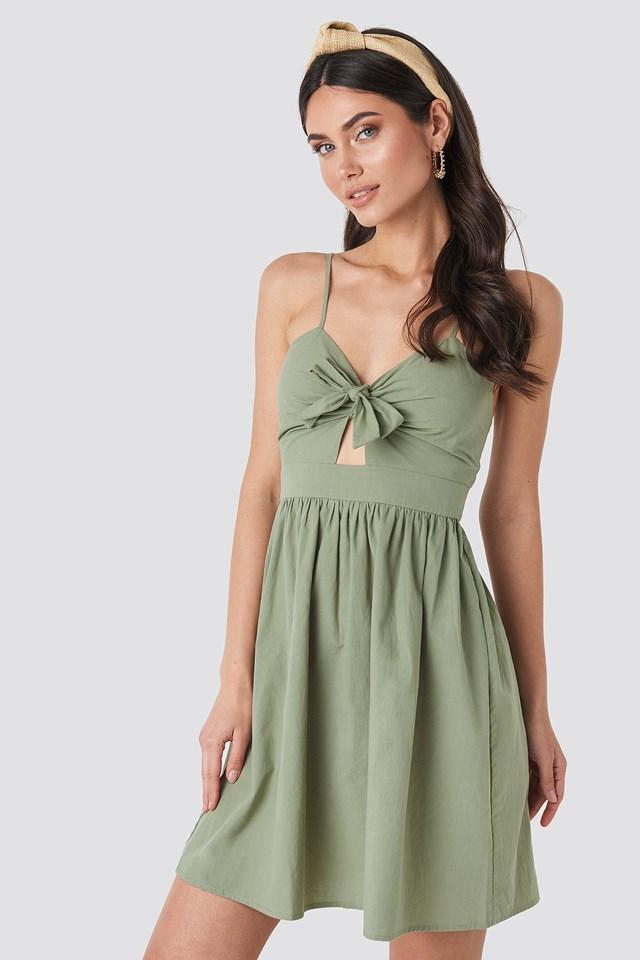 Knot Front Cut Out Dress Khaki